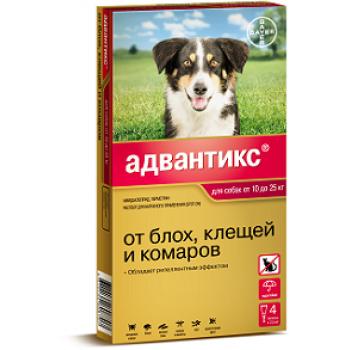 Адвантикс 250 с (Байер) для собак 10-25 кг (4 пипетки х 2,5 мл)