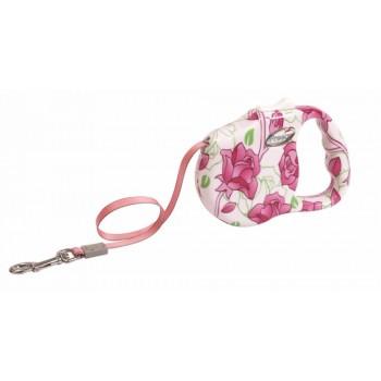 "Freego / Фрего Рулетка ""Розовый цветок"" лента, 3м х 23кг, разм.M, белая с розовым"