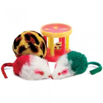 Triol / Триол Набор игрушек XW0046 для кошек (мяч, 2 мыши, барабан), d40мм; 45мм; 40мм