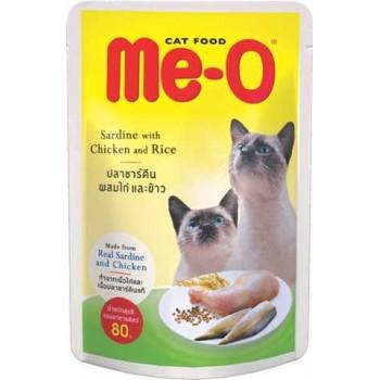 Ме-О Adult пауч д/кошек №5 Сардина с курицей и рисом в желе 80г 82804