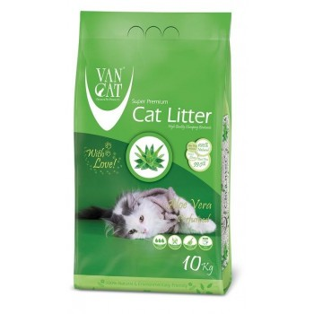 Van Cat Комкующийся Наполнитель без пыли с ароматом Алое вера , пакет (Aloe Vera) 10 кг