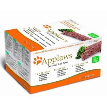 """Applaws / Эпплаус набор для кошек """"Индейка, Говядина, Океаническая рыба"""": 7шт.*100г 0,7 кг"""