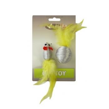 """Papillon / Папиллон """"Мышка и мячик с перьями"""" 5+4см серебряные"""