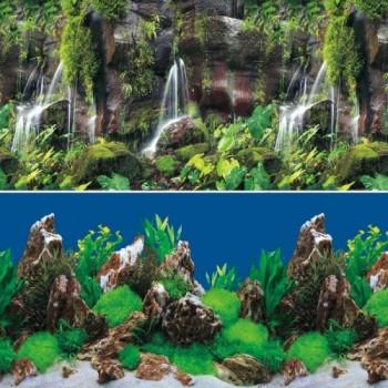 Jebo / Джебо 9026/9028 Фон аквариумный 0,3*15м Тропический водопад/Скалы в глубине