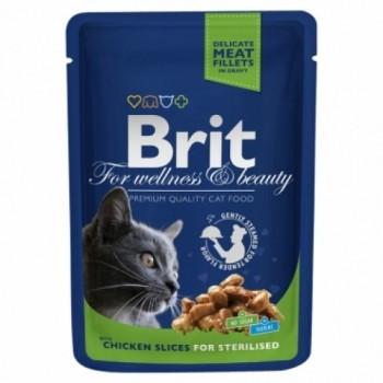 Brit / Брит Премиум пауч д/кошек Chicken Slice for Sterilized Курица для стерилизов,кошек, 100г
