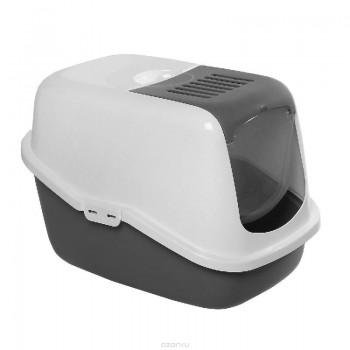 Savic / Савик Туалет для кошек NESTOR белый/светло-серый (закрытый) 56 х 39 х 38,5 см (1х4) 0227-OOWG