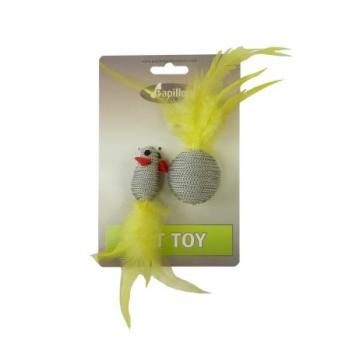 """Papillon / Папиллон """"Мышка и мячик с перьями"""" 5+4см серые"""