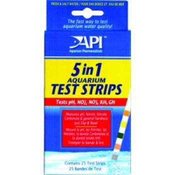 API / АПИ 5 в 1 аквариум Тест Стрипс - Полоски для экспресс тестов аквариумной воды 5 in 1 Aquarium Test Strips