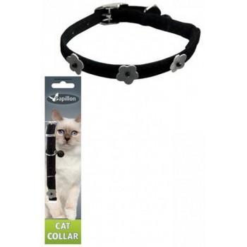 Papillon / Папиллон Светоотражающий ошейник для кошек 10мм-28см, черный