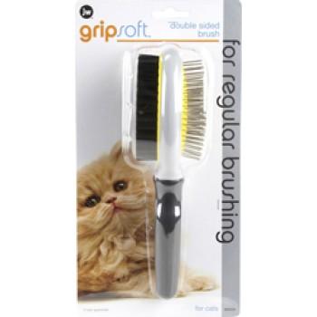 JW Щетка для кошек - двухсторонняя: щетиновая+массажная, большая Grip Soft Cat Double Sided Brush (65034)