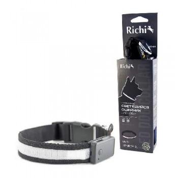Richi / Ричи 17792/2034 Ошейник USB 45-48см (L) Черный со светящейся лентой, 3 режима, зарядка от USB