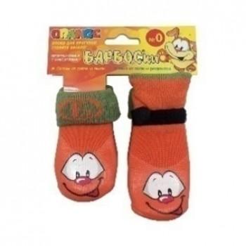 БАРБОСки носки д/собак, высокое латексное покрытие, оранжевые с принтом, размер - 0
