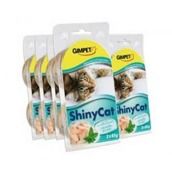 Gimpet / Гимпет Консервы Shiny Cat с цыплёнком и креветками в блистере д/кошек, 2*85 г