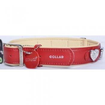 """CoLLaR Brilliance Ошейник кожаный двойной с украшениями """"Сердечко"""", 46-60см*35мм, красный (48973)"""