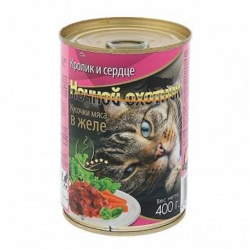 Ночной охотник кон. для кошек Кролик и сердце кусочки в желе 415 гр