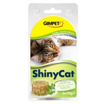 Gimpet / Гимпет Консервы Shiny Cat с тунцом и травкой в блистере д/кошек, 2*85г
