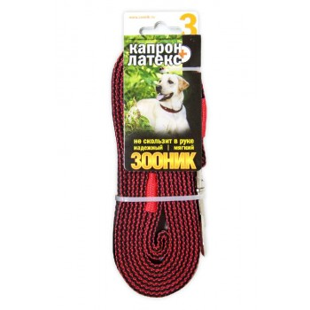 ЗООНИК Поводок капроновый с двойной латексной нитью 3м* 20мм, Красный