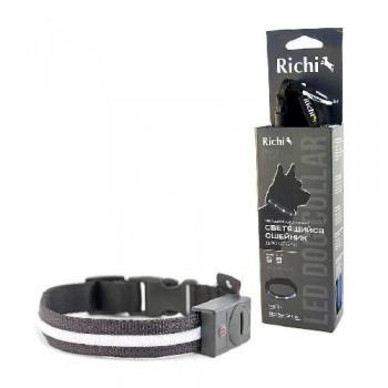 Richi / Ричи 17457/1014 Ошейник 32-34см (S) черный со светящейся лентой, 3 режима, 2xCR2025 в компл.