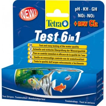 TetraTest / Тетра 6 в 1 GH/KH/NO2/NO3/pH/Cl полоски для пресной воды 25 шт.