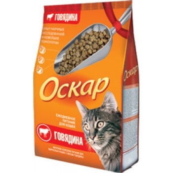 Оскар сухой для кошек с мясом говядины МКБ 0,4 кг