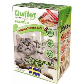 Buffet Мясные кусочки в желе для кошек с домашней птицей (Tetra Pak 190г)
