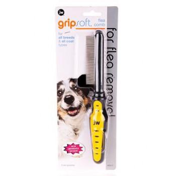 JW Расческа для собак частая, для вычесывания блох Grip Soft Dog Flea Comb (65017)