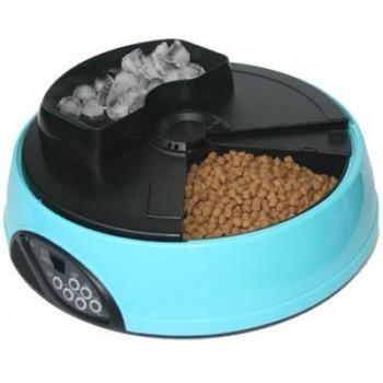 Feedex / Фидекс Автокормушка на 4 кормления для сухого корма и консерв, с емкостью для льда Голубая PF1B