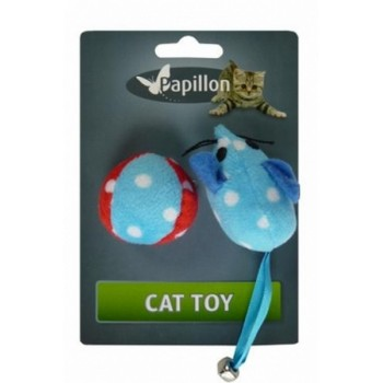 Papillon / Папиллон набор игрушек: Мышка и мячик, плюш, 5 + 4 см