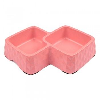 Bobo / Бобо Миска двойная, 29.9x18.9x5.5 см, 360+430 мл, розовый