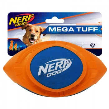 """Nerf / Нёрф Мяч для регби из вспененной резины и нейлона, 18 см (серия """"Мегатон""""), (синий/оранжевый)"""