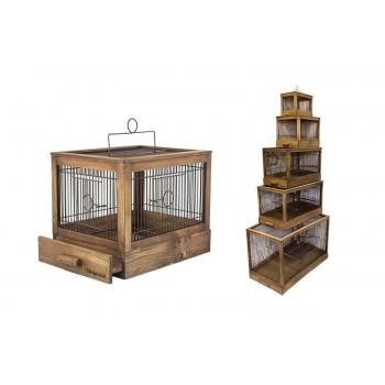"""Yami-Yami / Ями-Ями Клетка для птиц """"Под старину"""" большая, деревянная, цвет палисандр 71*33,5*51"""