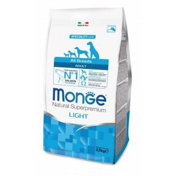 Monge / Монж Dog Speciality Light корм для собак всех пород низкоколорийный лосось с рисом 2,5 кг