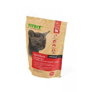 TitBit / ТитБит Корм сухой для взрослых активных кошек от 1 до 7 лет с мясом Цыпленка 0,4 кг