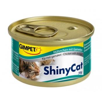 Gimpet / Гимпет Консервы Shiny Cat с цыплёнком и креветками д/кошек, 70г