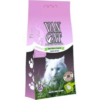 Van Cat Комкующийся Наполнитель без пыли с ароматом Детской присыпки, пакет (Baby Powder) 10 кг
