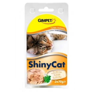 Gimpet / Гимпет Консервы Shiny Cat с тунцом и цыплёнком в блистере д/кошек, 2*70г