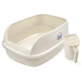Туалет Catidea 64х47х27 см, XXXL, борт, совок, кремовый