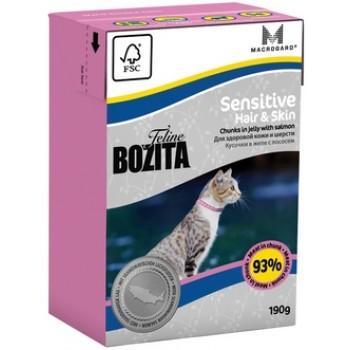 Bozita / Бозита Tetra Pak Funktion Sensitive Hair&Skin кусочки Лосося в желе д/кошек с чувствительнкожей и шерстью 190гр