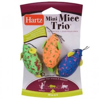 Hartz / Хартц Игрушка д/кошек - Три Мышки разноцветные, мягкая Mini Mice Trio Cat Toy