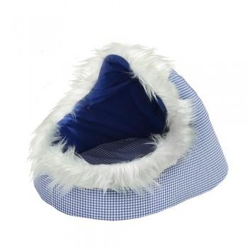 Зооник Тапок поролон/тиси принт(синий) с мехом (36х53х33)