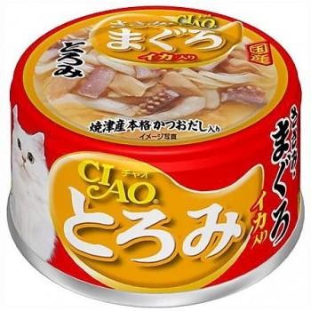 Inaba Тороми ж/б для кошек в бульоне филе курицы+тунец, кальмар, 80 гр
