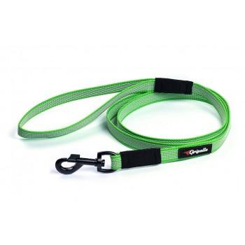 Gripalle / Грипэлле 20-150B 4374 Поводок нейлоновый прорезиненный для собак, черная стальная фурнитура 20 мм*150 см, Зеленый