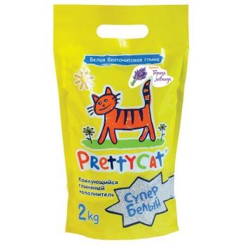 """PrettyCat Наполнитель комкующийся для кошачьих туалетов """"Cупер белый"""" с ароматом лаванды 2 кг"""