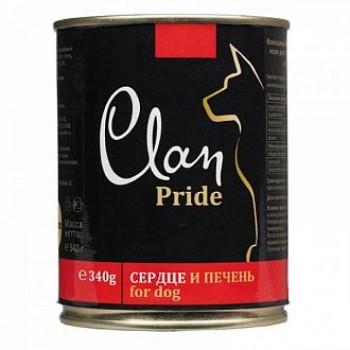 Clan / Клан PRIDE консервы для собак Говяжье сердце и печень, 0,34 кг