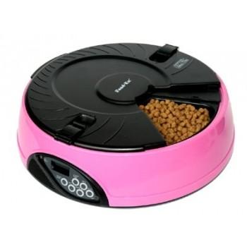 Feedex / Фидекс Автокормушка на 6 кормлений для сухого корма и консерв Розовая