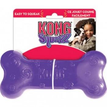 Kong / Конг игрушка для собак Сквиз Косточка средняя резиновая с пищалкой