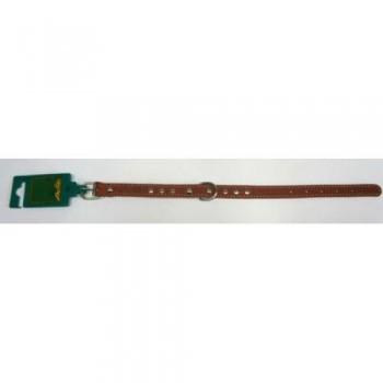 Аркон Ошейник кожаный 16, размер 26-34 см x 16 мм, цвет коньячный, о16к, один слой кожи, украшения, декоративная строчка (32422)