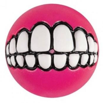 Rogz / Рогз Мяч с принтом зубы и отверстием для лакомств GRINZ средний, розовый (GRINZ BALL MEDIUM)