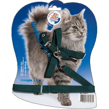 Зооник 1314-1 Шлейка стропа д/кошек на блистере (+поводок 1,5 м)