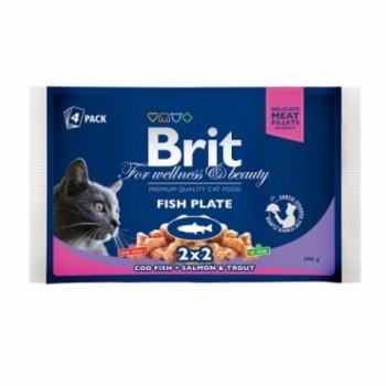 Brit / Брит Премиум набор паучей д/кошек Fish Plate Рыбная тарелка,4*100г